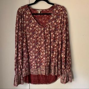 Lucky Brand Red Floral Print Bell Sleeve Top Vneck